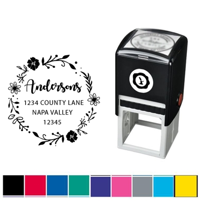 Flower Border and Address Custom Self Inking Stamper with Black Ink Cartridge