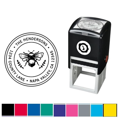 Bee and Address Custom Self Inking Stamper with Black Ink Cartridge