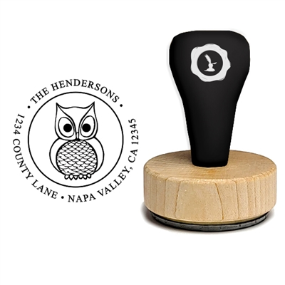 Owl and Address Custom Rubber Stamp-Owl 1 7/8""