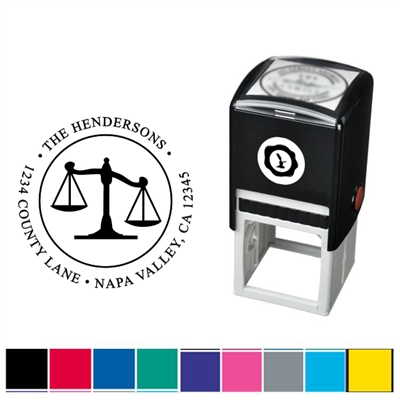 Scales of Justice and Address Custom Self Inking Stamper with Black Ink Cartridge