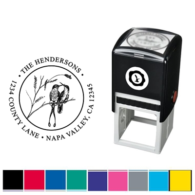 Two Birds and Address Custom Self Inking Stamper with Black Ink Cartridge