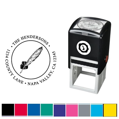 Quill & Ink and Address Custom Self Inking Stamper with Black Ink Cartridge
