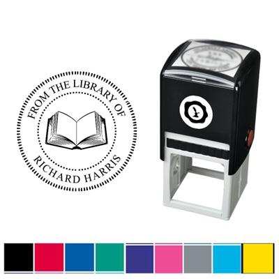 Book and Text Custom Self Inking Stamper with Black Ink Cartridge