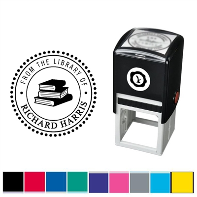 Book Stack and Text Custom Self Inking Stamper with Black Ink Cartridge
