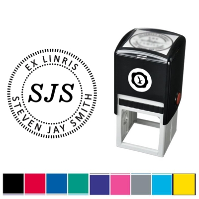 Initials and Text Custom Self Inking Stamper with Black Ink Cartridge