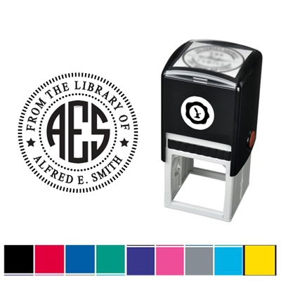 Circle Monogram and Text Custom Self Inking Stamper with Black Ink Cartridge