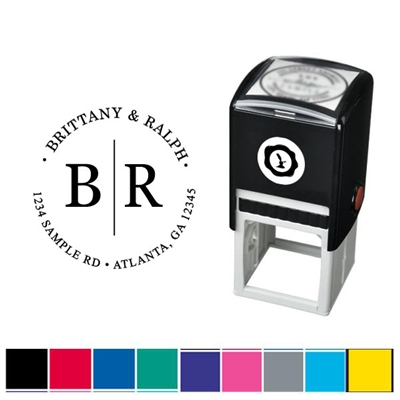 Line Divider & Address Custom Self Inking Stamper with Black Ink Cartridge