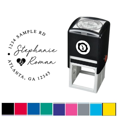 Wedding Couple's Names & Address Custom Self Inking Stamper with Black Ink Cartridge