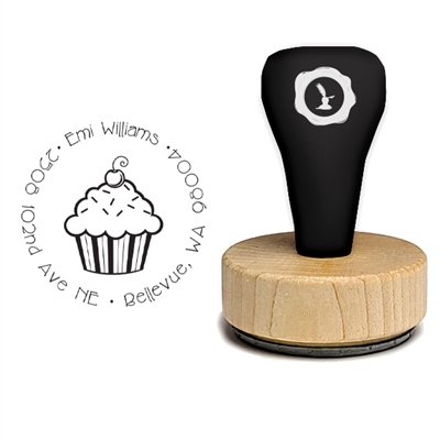 Cupcake and Address Rubber Stamp-Cupcake 1 7/8""