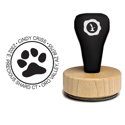 Paw Print and Address Rubber Stamp-Paw Print 1 7/8""