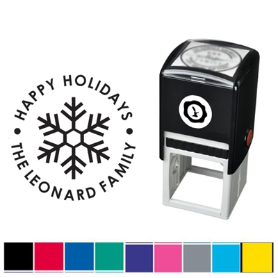 Snowflake and Text Custom Self Inking Stamper with Black Ink Cartridge