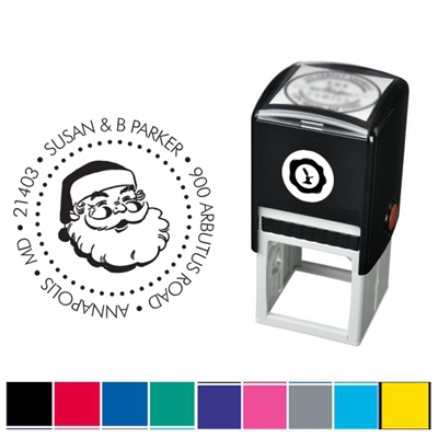 Santa and Address Custom Self Inking Stamper with Black Ink Cartridge