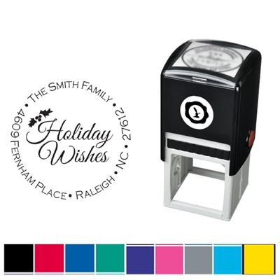 Holiday Wishes and AddresCustom Self Inking Stamper with Addres