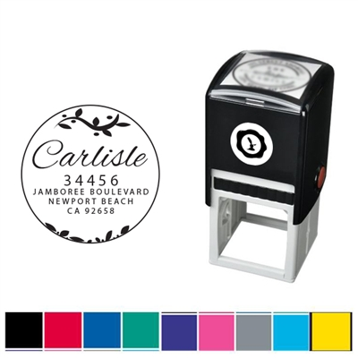 Leaves and Address Custom Self Inking Stamper with Black Ink Cartridge