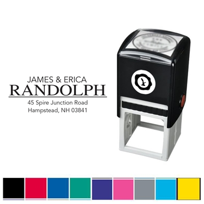 Name & Address Custom Self Inking Stamper with Black Ink Cartridge