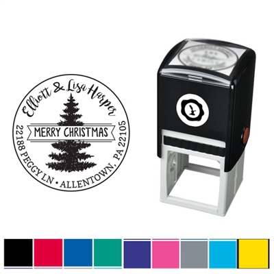 Merry Christmas Custom Self Inking Stamper with Addres