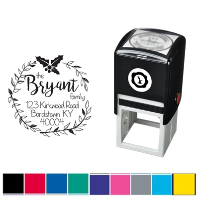 Mistletoe and Address Custom Self Inking Stamper with Black Ink Cartridge