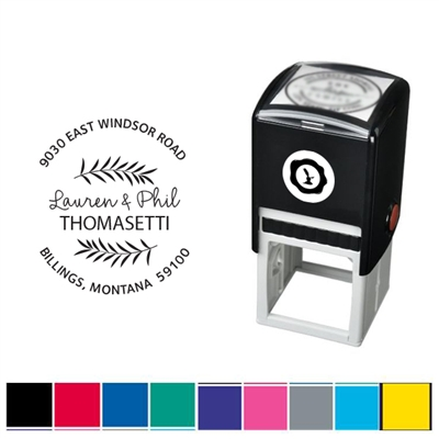 Fern and Address Custom Self Inking Stamper with Black Ink Cartridge