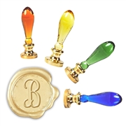 Initial Wax Seal Stamp with Murano Glass  Handle-your choice of font