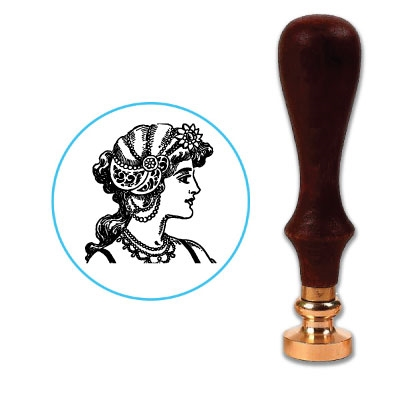 Art Deco Wax Seal Stamp # 3801 Flapper Lady