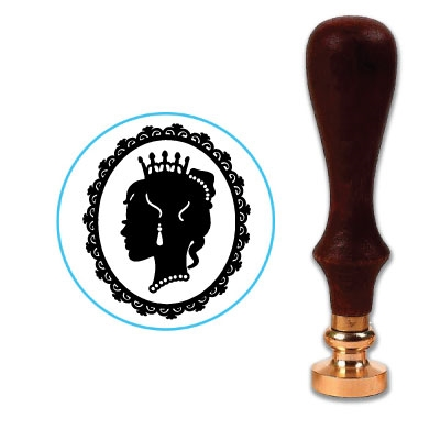 Cameo Lady with Crown Wax Seal Stamp # 572-6400 -25mm Die