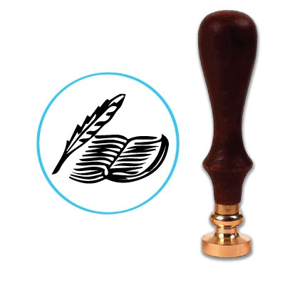 Quill & Book Wax Seal Stamp # D726