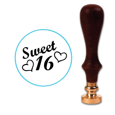 Sweet 16 With Hearts Wax Seal Stamp # R1020