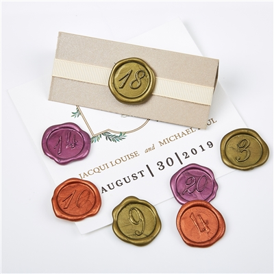 "Wax Seal Stickers-12PK- 1""-Place or Table Card Numbers"