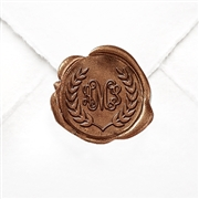 "Hand Pressed Custom Wax Seals 50PK- 1 1/4"" - Tiffany with Laurel Wreath"