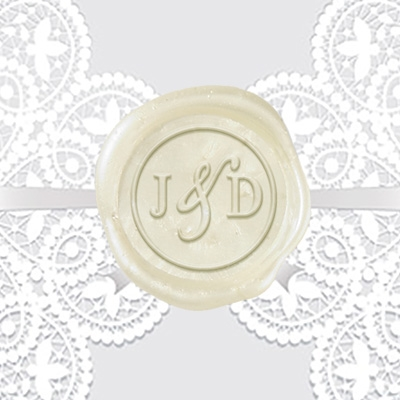 "Custom Wax Seal Stickers 50PK- 1 1/4"" -2 Letter Duogram Times Roman Cond. with Ampersand"