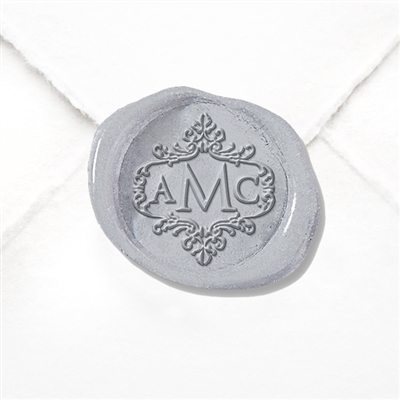 "Hand Pressed Custom Wax Seals 50PK- 1 1/4"" - Optimus Princeps in Scroll Border"