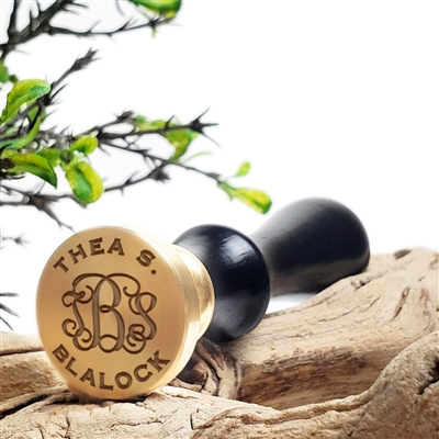 "Custom Wax Seal Stamp  1"" Die- Tiffany Interlock Initials with Classic Name"