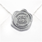 "Custom Wax Seal Stickers 50PK- 1 1/4"" Tiffany Interlock Initials with Classic Name"