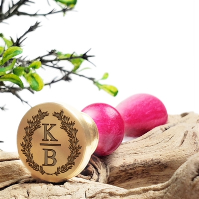 "Personalized Monogram 2-Initial Custom Wax Seal Stamp  1"" Die- #1959 Times Roman Font Duogram in Wreath"