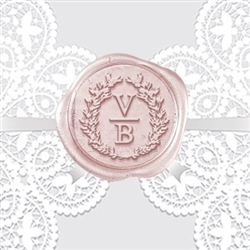 "Custom Wax Seal Stickers 50PK- 1 1/4"" Initial Wreath Monogram"