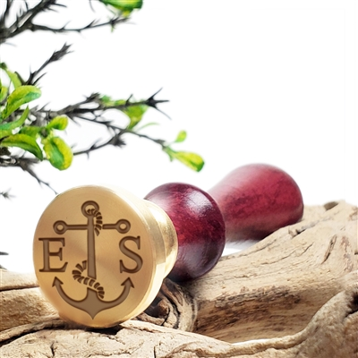 "Custom Wax Seal Stamp  1"" Die- #3393 Anchor with Times Roman Initials"