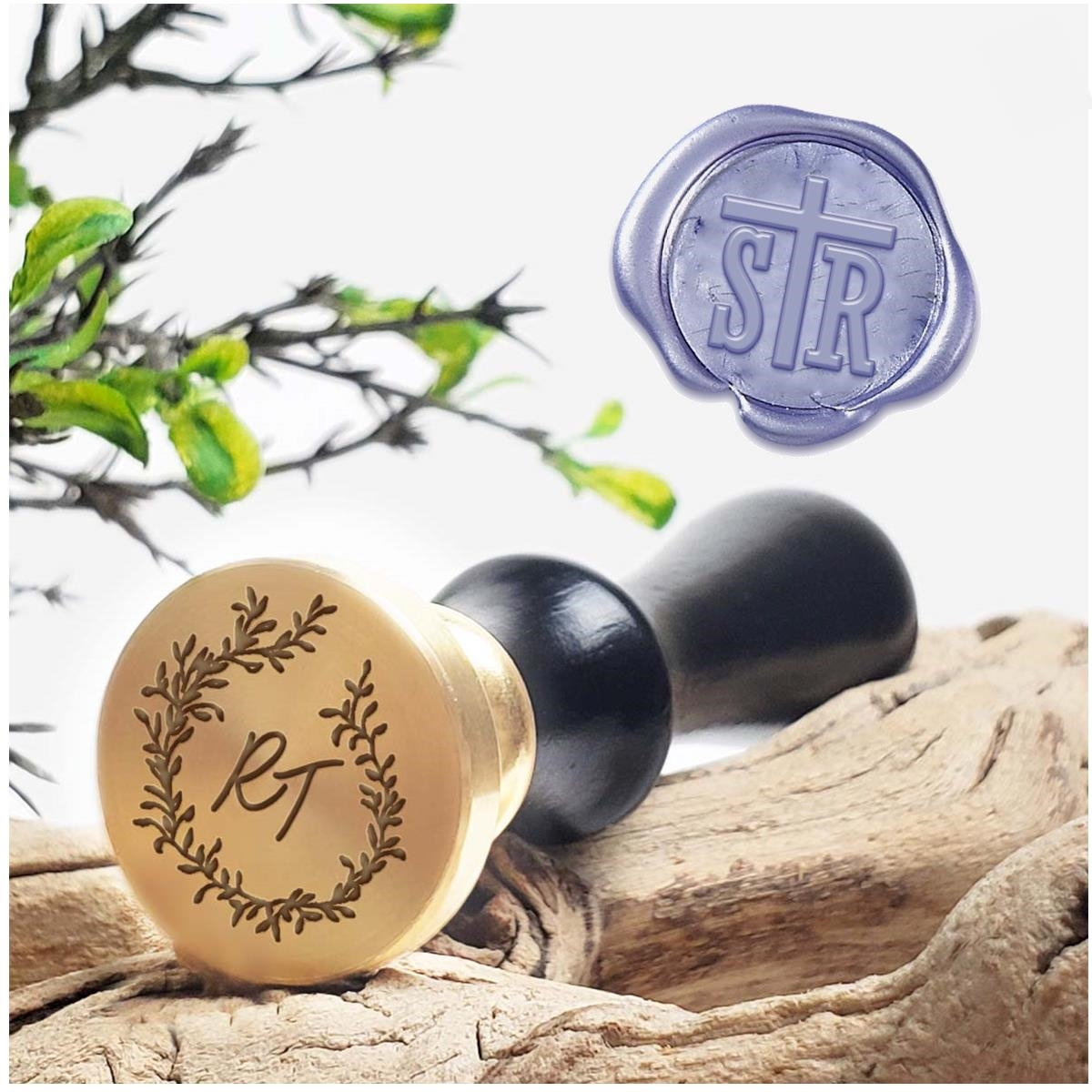 Custom Wax Seal Stamps 2 Initial Monograms On 1 Die Decorative Layout Handle Options