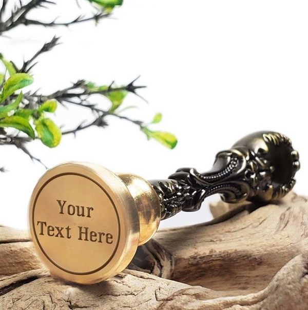 Custom Wax Seal Words-Text Layout with line border & handle options