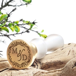 "Personalized Monogram 2-Initial Custom Wax Seal Stamp  1"" Die- #3381 Times Roman Font Duogram with Decorative Border"
