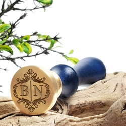 "Personalized Monogram 2-Initial Custom Wax Seal Stamp  1"" Die- #3384 Scroll Duogram"