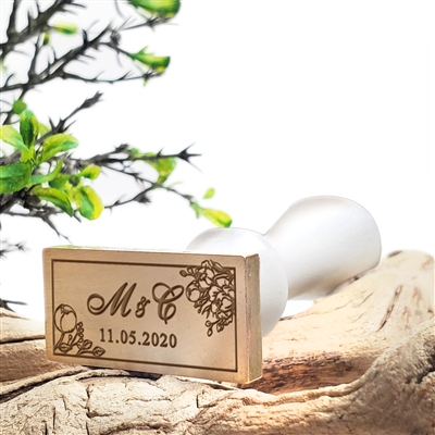 "Wedding Custom Wax Seal Stamp 1 5/7""x3/4"" Rectangular Die-  Shelly Allegro Duogram and Date in Flower Border"