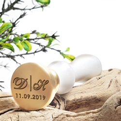 Wedding Custom Wax Seal Stamp Duogram with Name and Date #8151