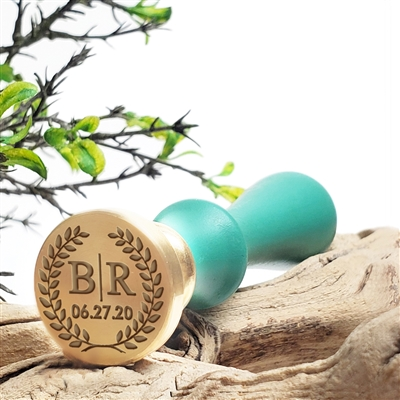 "Personalized 2-Initial Monogram Custom Wax Seal Stamp  1"" Die- #3354 Times Roman Monogram with Date & Wreath"