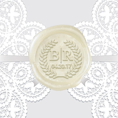 "Custom Wax Seal Stickers 50PK- 1 1/4"" Times Roman Monogram with Date & Wreath"