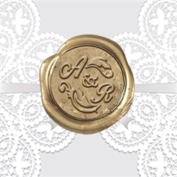 "Adhesive Wedding Wax Seals Stickers 50PK-Handpressed 1 ¼"" #301"