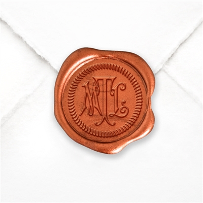 Custom Monogram Wax Seal Stickers 50PK- 1 round Carson Overlay with Rope Border