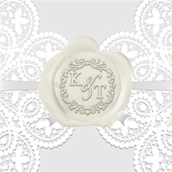 "Custom Monogram Wax Seal Stickers 50PK- 1 1/4"" -Scroll Duogram"