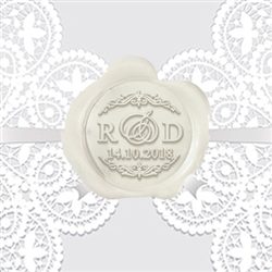 "Custom Monogram Wax Seal Stickers 50PK- 1 1/4"" round 3 -Letter Monogram with Edwardian Script Center Letter"