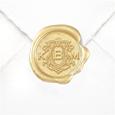 "Hand Pressed Custom Wax Seals 50PK- 1 1/4"" - Victorian Monogram"