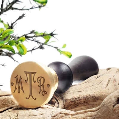 "Custom Personalized Wax Seal Stamp Made in USA 3-Initial Monogram on  1"" Die-- #192 Carson Font with Dots"